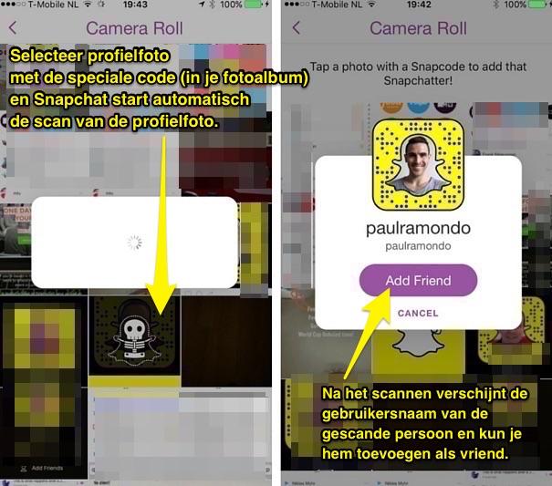 snapchat vriend toevoegen met scannen screenshot profielfoto